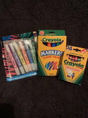 Crayola Crayons, Crayola Markers & Avery Fluorescent Hi Lighters for Sale in Columbia, SC