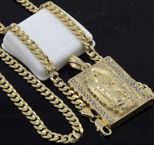 """New Mens Gold Plated Hip-hop Block Virgin Mary Pendant 24"""" Cuban Chain for Sale in Edgewater, NJ"""