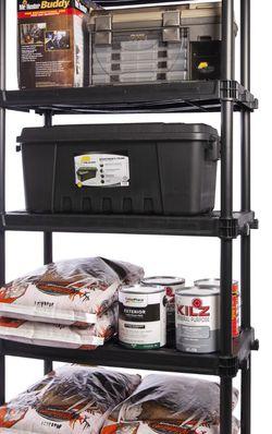 "Plano 36""W x 24""D x 74""H 5 Shelves Heavy Duty Plastic Garage Storage Unit, Dark Gray, 1000 lb Capacity for Sale in Houston,  TX"