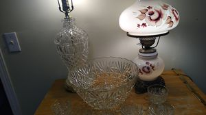 Antique Lamp, Crystal Lamp and Punch Bowl for Sale in Turlock, CA