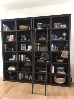 Espresso Augustus Library Book Shelves With Ladder ~ World Market for Sale in Charlotte, NC