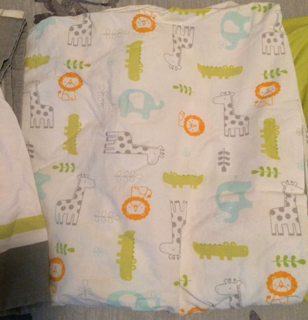 Set of 2 Circo Fitted Crib Sheets & Crib Skirt - Jungle Themed - Never Used!