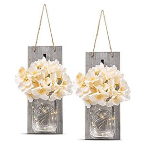 Mason Jar Wall Decor Sconces Flower Fairy Lights for Sale in Marquette, MI