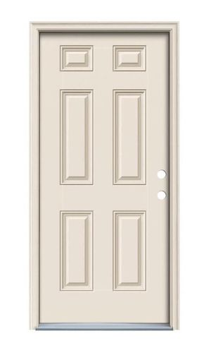 JELD-WEN 36 in. x 80 in. 6-Panel Primed Fiberglass Prehung Left-Hand Inswing Front Door w/Brickmould for Sale in Industry, CA