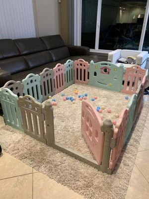 NEW Adjustable 76x61x23 Inches Tall 16 Panel Baby Safety Gate Non Slip Suction Cup Base Indoor Outdoor Playpen Fence with Balls for Sale in Covina, CA