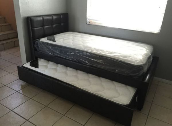 Brand New Twin Size Leather Trundle Bed + 2 Mattresses