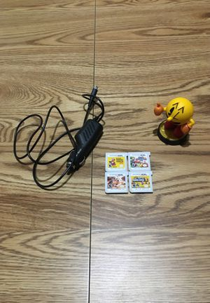 Nintendo 3DS car charger, PAC-MAN amiibo, Super Mario Maker 3DS, Smash Bros. 3DS, Nintendogs + Cats, and New Super Mario Bros. 2 for Sale in Chandler, AZ