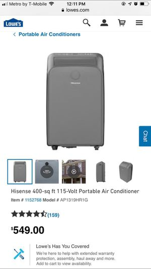 hisense Portable AC connects to window for Sale in San Jacinto, CA