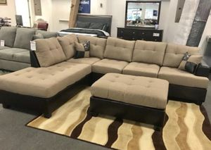 Brand new linen/leather sectional sofa with ottoman for Sale in Silver Spring, MD