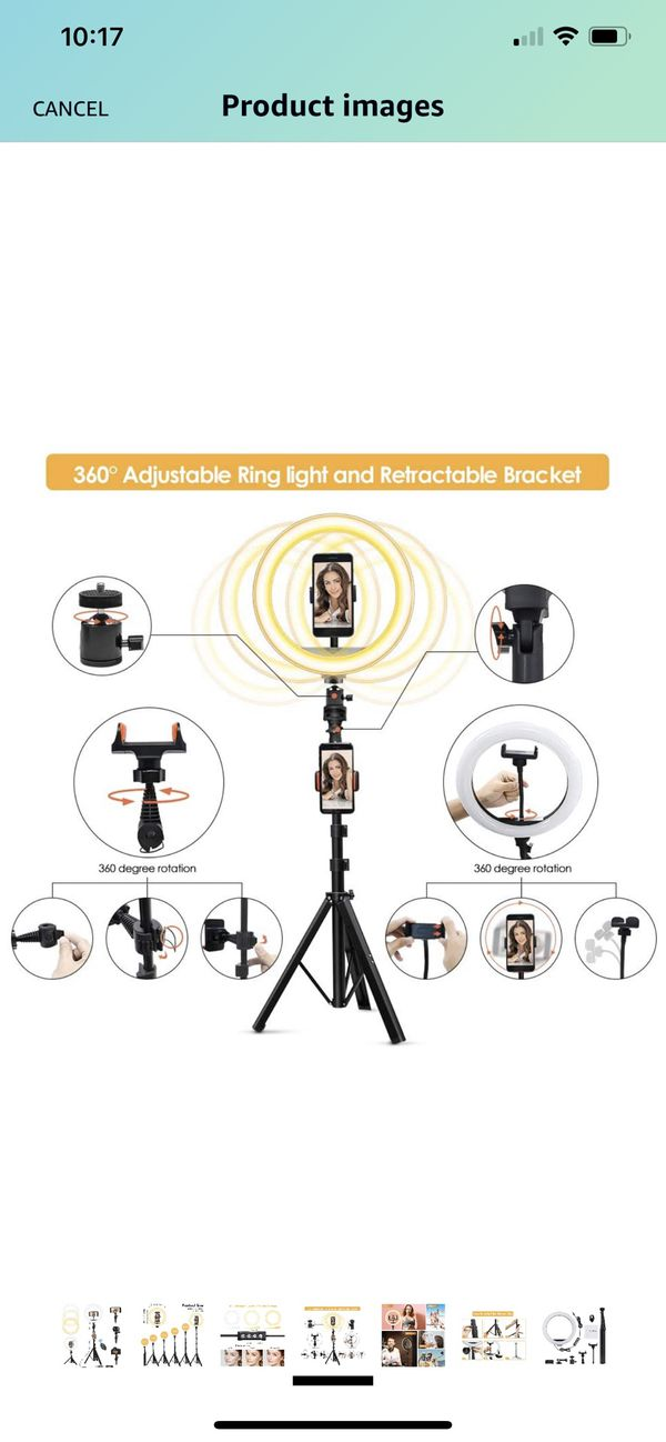 "10"" Selfie Ring Light with Adjustable 17"" to 63"" Tripod Stand & 3 Phone Holders, Zuukoo Dimmable LED Beauty Camera Ringlight for Makeup/Photography/Y"