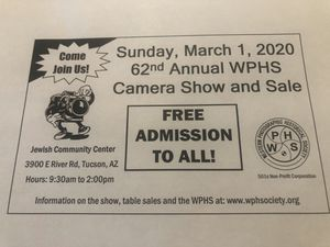 Free Admission To All March 1st Camera Show and Sale. If you have cameras or Photographic equipment to sell, trade or swap please bring them to this for Sale in Tucson, AZ