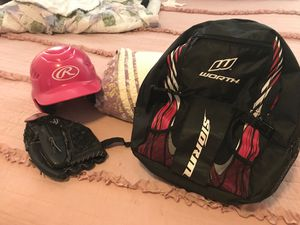 Baseball/softball ball kids back pack, helmet and glove for Sale in Houston, TX