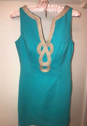 Lilly Pulitzer Turquoise & Gold Cotton Dress Size 00 for Sale in Winter Springs, FL