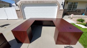 U shaped desk with lateral file and bookcase for Sale in West Jordan, UT