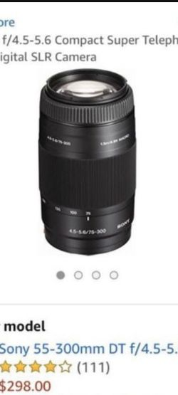 sony telephoto zoom 75-300mm f/4.5-5.6 camera lense for Sale in Bakersfield,  CA