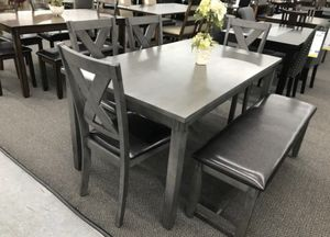 GREY CASUAL DINING TABLE WITH CHAIRS AND BENCH for Sale in La Puente, CA
