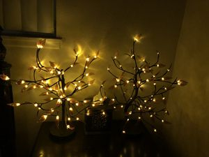 2 Home Decorative LED Tree Light. Smart Table Lamp Accent Night Light. Copper Wire String. Warm Brown. Flexible Branch. for Sale in Riverside, CA