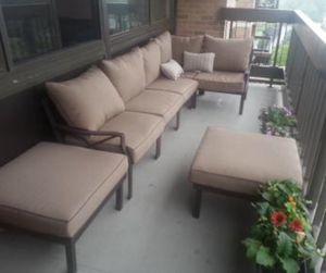 New!! 7 pc cushioned patio set, outdoor conversation set, seats 5 chat set, patio furniture , tan for Sale in Phoenix, AZ