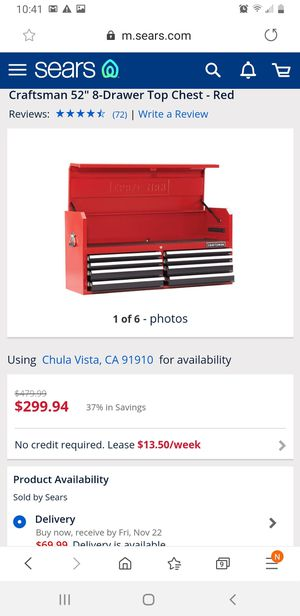 """Craftsman 52"""" top chest tool box for Sale in San Diego, CA"""