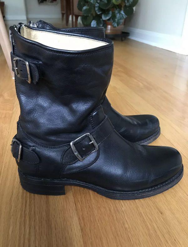Frye Veronica Back Zip Short Black Leather Motorcycle Boots 76603 Women's 9 B