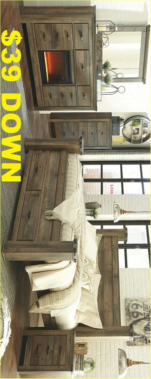 Brand New Nuevo 4 Piece(Bed Frame-Dresser- Mirror-Nightstand)Queen Size Trinell Brown Poster Storage Bedroom Set with Fireplace Option for Sale in Houston, TX
