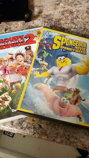 2 kids DVDs, sponge Bob and cloudy with a chance of meatballs.. for Sale in Mesa, AZ