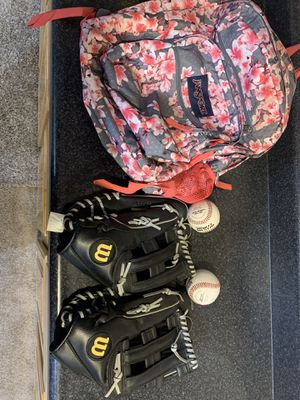 Girls book bag and baseball/softball Right gloves for Sale in UPPR MARLBORO, MD