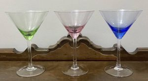 Vintage Antique Mid Century Modern MCM Set Of 3 Pastel Colored Depression Optic Glass Martini Glasses for Sale in Chapel Hill, NC