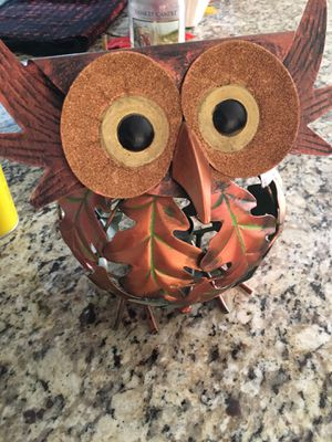 Pier 1 fall metal owl for candle for Sale in Lancaster, OH