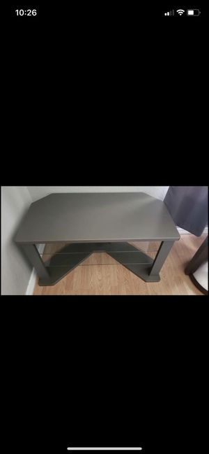 Grey Tv Stand W/ 2 Glass Shelves for Sale in Port Richey, FL