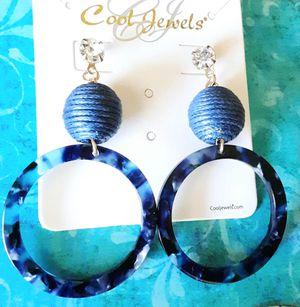 Shipping Only: New blue acrylic 2 1/4 inches long hoop earrings with crystal post for Sale in Fullerton, CA