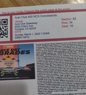 Nascar Auto Club 400 Sunday March 1st for Sale in Riverside, CA
