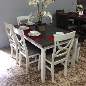 New Rustic White/Gray 6 Pc Dining Set Table Chairs Comedor Mesa Silas for Sale in Downey, CA
