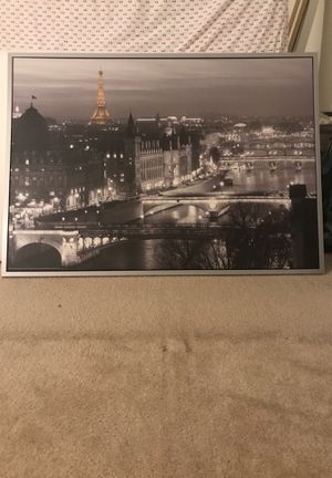 Large black paris wall art picture with frame for Sale in Irvine, CA