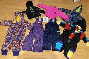 Kids /toddler size 3 ski and snowboarding clothes. Jackets pants and bibs. Many brand names for Sale in Redondo Beach, CA