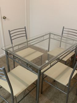 Glass Dining Table With Set Of Four Chairs for Sale in Fresno,  CA