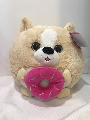 """Hugme 11"""" Plush Stuffed Round Animal Squishy Toy Dog Holding Pink Dounut Love Valentines Day Brand New for Sale in Hollywood, FL"""