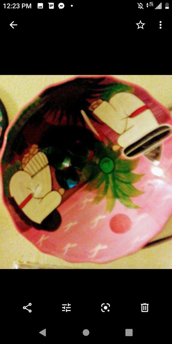 "8 "" terracotta ceramic hand painted Mayan Indian motif bowl"