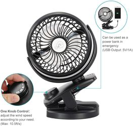 Stroller Fan Clip on Portable Fan - COMLIFE F150 Small Desk Fan with Rechargeable 4400 mAh Battery Powered Fan, Stepless Speeds for Sale in Ontario,  CA