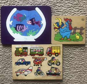 Wooden shape Puzzles for sale - excellent condition sturdy wood puzzle games - ages 7 & under for Sale in Kenosha, WI