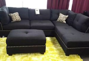 Brand New Black Linen Sectional Sofa Couch + Ottoman for Sale in Rockville, MD