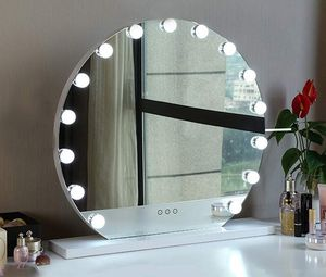 """New $140 Round 24"""" Vanity Mirror w/ 15 Dimmable LED Light Bulbs Beauty Makeup (White or Black) for Sale in Whittier, CA"""
