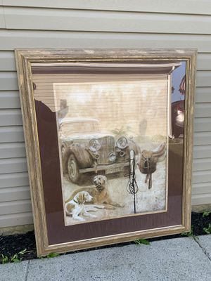 Human size 54x46 inch framed wall art country scene with dogs, old car, and horse saddle for Sale in Jonestown, PA