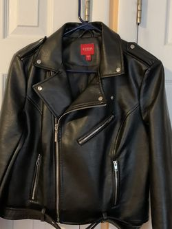 Faux Leather Jacket-Biker Jacket by Guess for Sale in Bloomingdale,  IL