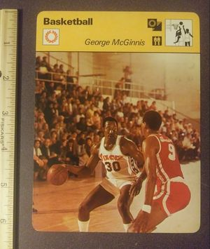 1977 Sportscaster George Mcginnis The Baby Bull Philadelphia 76ers Sport Photo Large Oversized Basketball Card HTF Collectible Vintage Italy for Sale in Salem, OH