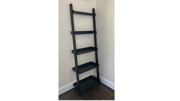 New Crate and Barrel Leaning Ladder Shelf Wood Wenge finish