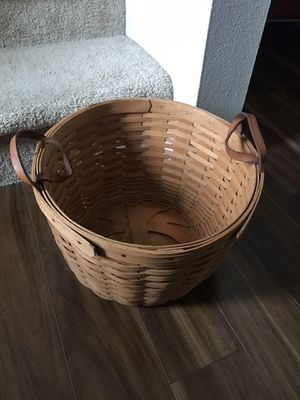 Longaberger basket with leather handles. for Sale in Tulalip, WA