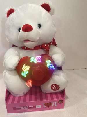 """10"""" Stuffed Plush Singing Animal Holding Heart w LED Fan Valentine Teddy The bear sings """"Come and get your love"""" by Lolly Vegas. spinning fan for Sale in Hollywood, FL"""