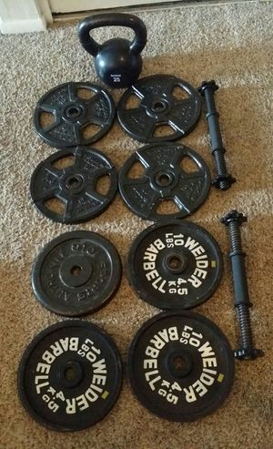 Weights standard 80lbs, 8x10lbs, 2 dumbbell bars and 25lb kettle bell. for Sale in Deerfield Beach, FL