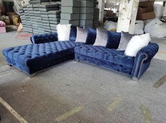 London OVERSIZED - Grey or Blue Velvet sectional couch 🛋 Same day delivery No credit check 🌙 39 down payment for Sale in Houston,  TX